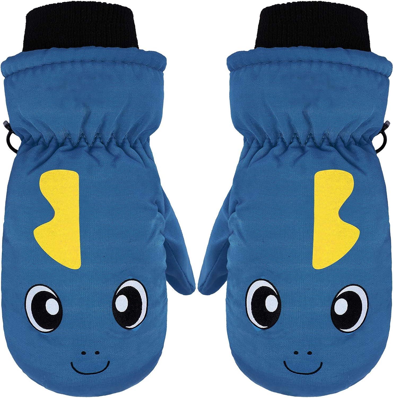 Snow Mittens Winter Ski Mittens Unisex Gloves Kids Waterproof Warm Cotton-lined Gloves (Light Blue): Clothing