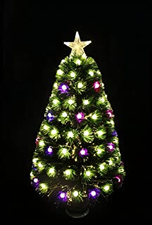 HOLIDAY STUFF Tabletop Pre-Lit Multi-Color Globe LED Decorated Fiber Optic Artificial Christmas Tree (3ft)