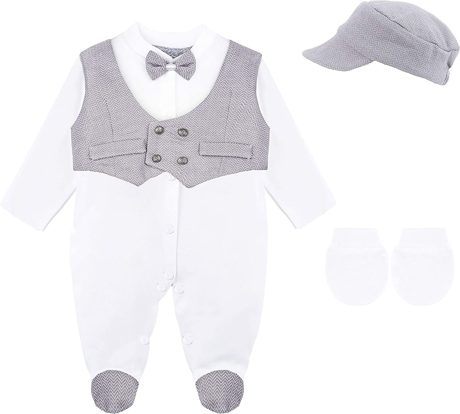 Lilax Baby Boys Tuxedo Outfit Long Sleeve Footie with Vest and Pant 3 Piece Set