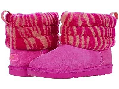 UGG Kids Fluff Mini Quilted Zebra (Little Kid/Big Kid) (Rock Rose) Girls Shoes