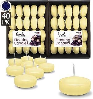 Hyoola Premium Ivory Velas flotantes 5,1 cm – 4 Horas – 40 Unidades – Fabricado en Europa