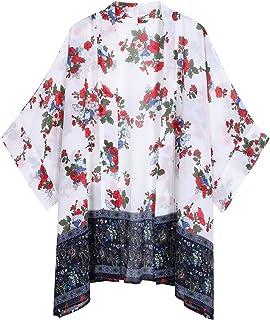 OLRAIN Women's Floral Print Sheer Chiffon Loose Kimono...