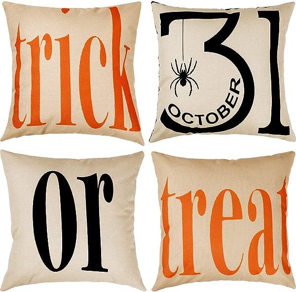 LOCOLO 4Pcs Halloween Pillowcases Cotton Linen Decorative Pillowcases For Couch Patio 18 18