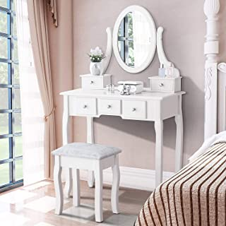 Iglobalbuy Tocador Escritorio de Maquillaje con Taburete Mesa de cosmética Blanca con Espejo para el Dormitorio