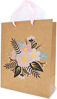 Floral Gift Bags – 12-Pack Brown Kraft Bags for Weddings, Retail - 20 Tissue Paper Sheets Included (13 x 10 Inches)