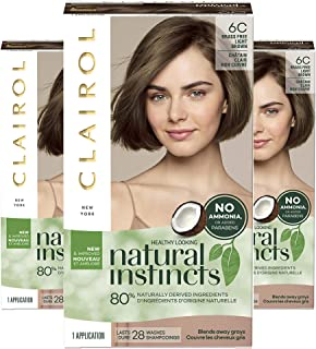 Clairol Natural Instincts Semi-Permanent, 6C Brass Free Light Brown, Brazilian Dusk, Pack of 3