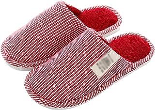 OMING Chaussons Hiver Simple Couple rayé Couple intérieur Maison Coton Pantoufles Femelle Pantoufles Chaudes Chaudes Panto...