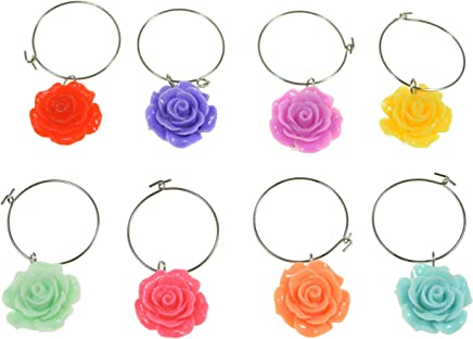 PrestigeHaus Flower Wine Glass Charms - Set of 8 Colorful Flower Charms - Tags to Mark Your Drinks