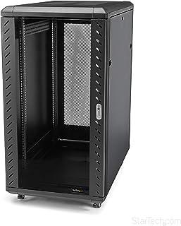 StarTech.com 22U Server Rack Cabinet on Wheels - 36 inch Adjustable Depth - Portable Network Equipment Enclosure (RK2236BKF),Black