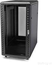 StarTech.com 22U Server Rack Cabinet on Wheels - 36 inch Adjustable Depth - Portable Network Equipment Enclosure (RK2236BKF)