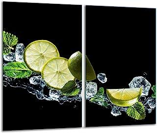 TMK - Placa protectora de vitrocerámica 2 x 30 x 52 cm 2 piezas cocina eléctrica universal para inducción protección contra salpicaduras tabla de cortar de vidrio templado como decoración Frutas