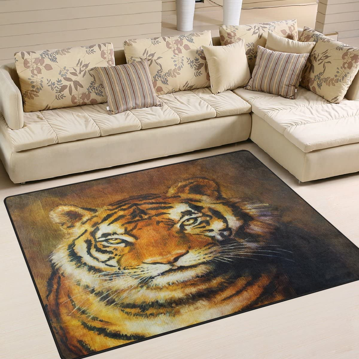 NEW ALAZA Max 62% OFF Oil Painting Tiger Area Rug Bedroom Rugs 5 for Room Living