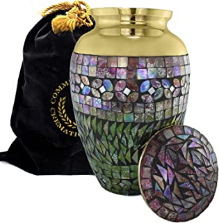 Iridescent Mosaic Cracked Glass Brass Metal Funeral Cremation Urn for Human Ashes - Extra Large, Large and Keepsake, Brass...