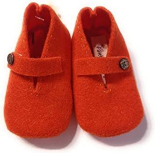 Scarpine 6-9 mesi bambino e bambina in feltro lanato fatte a mano