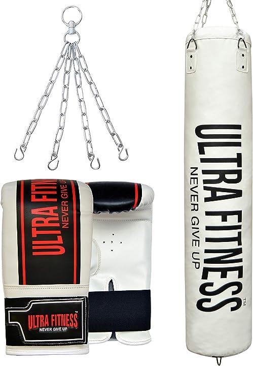 Sacco da boxe riempito guanti e catena sospesa ultra fitness B07ZJM5QXW