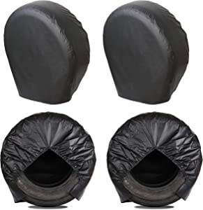 MOONET Tough Tire Covers for RV Wheel(4 Pack), Heavy Duty Thicken Sun Protectors for Truck Motorhome Boat Trailer Camper Van SUV, for Diameter 27