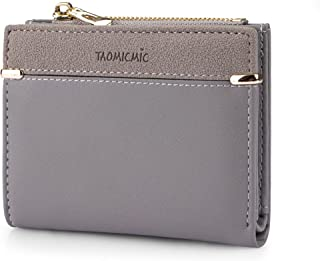 Small Wallets for Women Bifold Leather Short Wallet Lady Mini Purse Card Case Holder with ID Window (A-Gray)