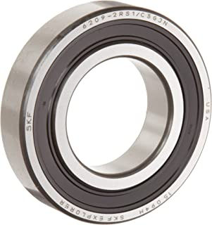 SKF 6210 2RSJEM Light Series Deep Groove Ball Bearing, Deep Groove Design, ABEC 1 Precision, Double Sealed, Contact, Steel Cage, C3 Clearance, 50mm Bore, 90mm OD, 20mm Width, 5220.0 pounds Static Load Capacity, 7890.00 pounds Dynamic Load Capacity