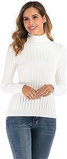 Enjoyoself, Suéter Cuello Alto para Mujer Pull-Over Tops Primavera Otoño Suéter de Punto Suéter de Invierno cálido y Elegante Suéter Elegante Calcetín Moderno Cuello Alto Alto Mujer Básico