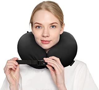 Travel Pillow For Airplanes Car Offices Home Micro Beads Rest Environmental Support Neck Breathable Sweat Soft Comfortable LightWeight Adjustable Size Easy To Clean Black