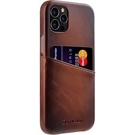 "StilGut Cover Premium Compatible con iPhone 12 Pro Max (6.7"") Funda con Tarjetero, Case de Cuero Funda de Tarjeta, - Cognac Antiguo"