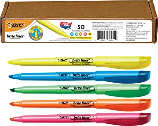 BIC Brite Liner Highlighter, Chisel Tip, Assorted Colors, 50-Count