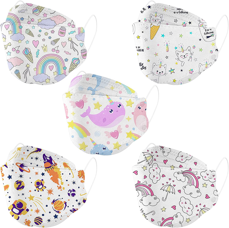 Great interest 10 50 PCS Cute Kids Disposable Breathable 4D Las Vegas Mall layer 4 Face_Masks