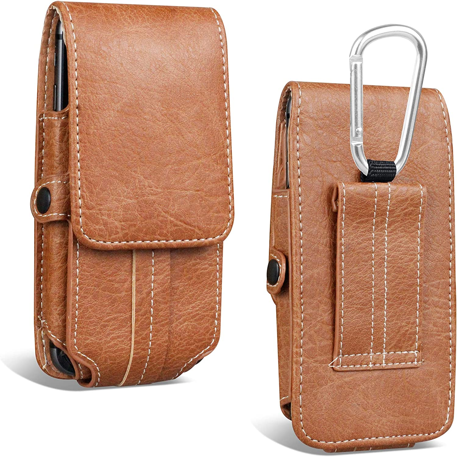 Phone Holster Designed for iPhone 12 11 pro max,Belt Case with Belt Clip XXL Large Phone Holder Pouch Compatible with iPhone 12 11/XR/XS/X,7 8+,Samsung Galaxy A22,A32,J8,A51 with 2 Slot Card (Brown)