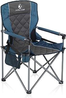 صندلی تاشو کمپینگ بزرگ ALPHA CAMP صندلی بازو چهار ضلعی پشتیبانی شده وظیفه سنگین 450 LBS قاب فولادی بزرگ اندازه صندلی چمن تاشو با دارنده جام صندلی پشتی کمری چهارتایی قابل حمل برای فضای باز