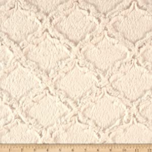 Shannon Fabrics Minky Luxe Cuddle Lattice Fabric by The Yard, Ivory