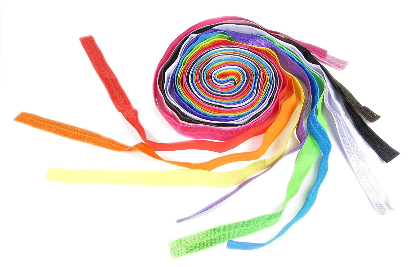 Hair Ties, HipGirl Fold over Elastic Ribbon FOE for Baby Girl Teen Women, Ponytail Holder, Hair Elastics, Ribbon Hair Ties, Hair Tie Bulk, 5/8 Inch Wide, 12 Colors Assorted, 1 Yard Each