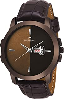 SWISSTONE Analogue Brown Dial and Leather Strap Men's Watch
