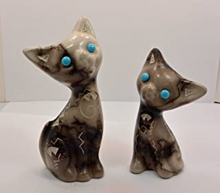 All Tribe Silver Native American Navajo Pottery Horse Hair Cat Set by Vail