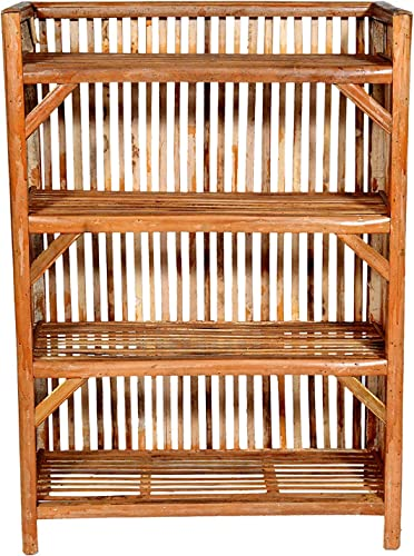 HM Services Bamboo Cane Bait Strong Shoe Rack Wooden Slipper Stand Utility Rack Planter Stand Bookshelf Space Saving Shelf for Home Kitchen