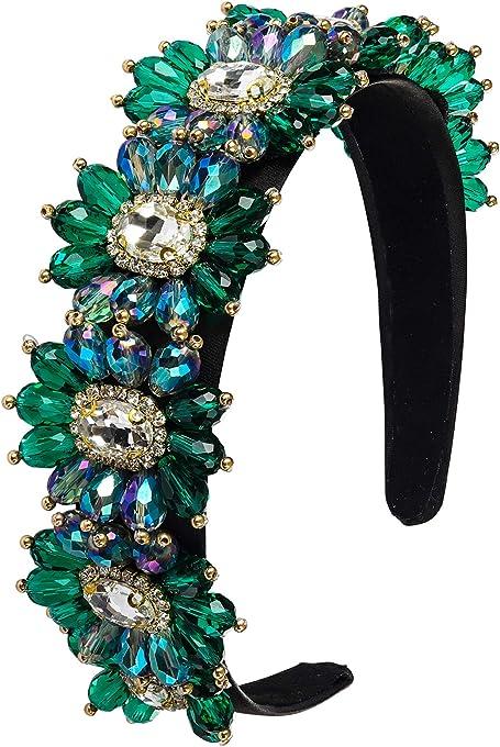 Somewhere Haute Emerald/Crystal Flower Jeweled Fashion Headband