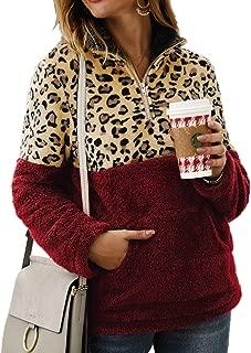Women 1/4 Zipper Leopard Pullover Fleece Sweatshirt with Pocket
