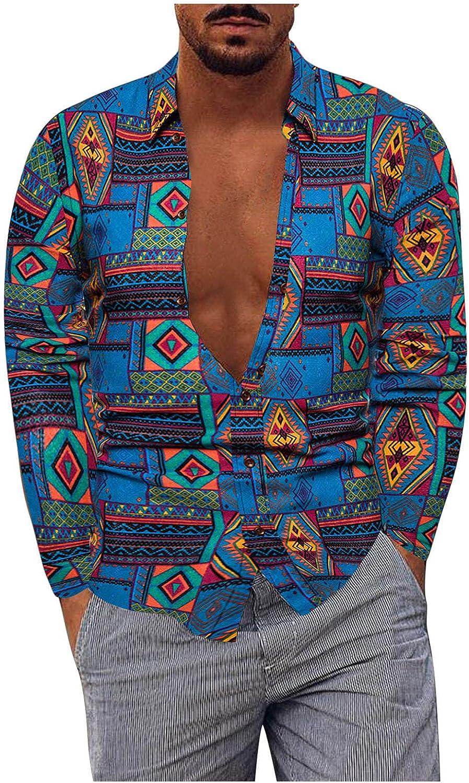 FUNEY Men's Fashion Cotton Linen Long Sleeve Dress Shirt Floral Collar Button Down Shirts Regular-fit Casual Poplin Shirt