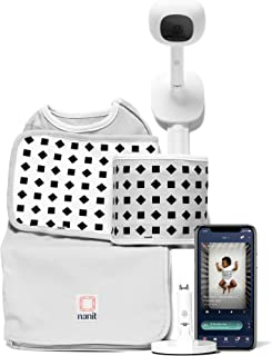 Nanit Complete Monitor System with Breathing Motion: Nanit Plus Wall Mount + Multistand + Starter Set, one Small Swaddle and one Small Band