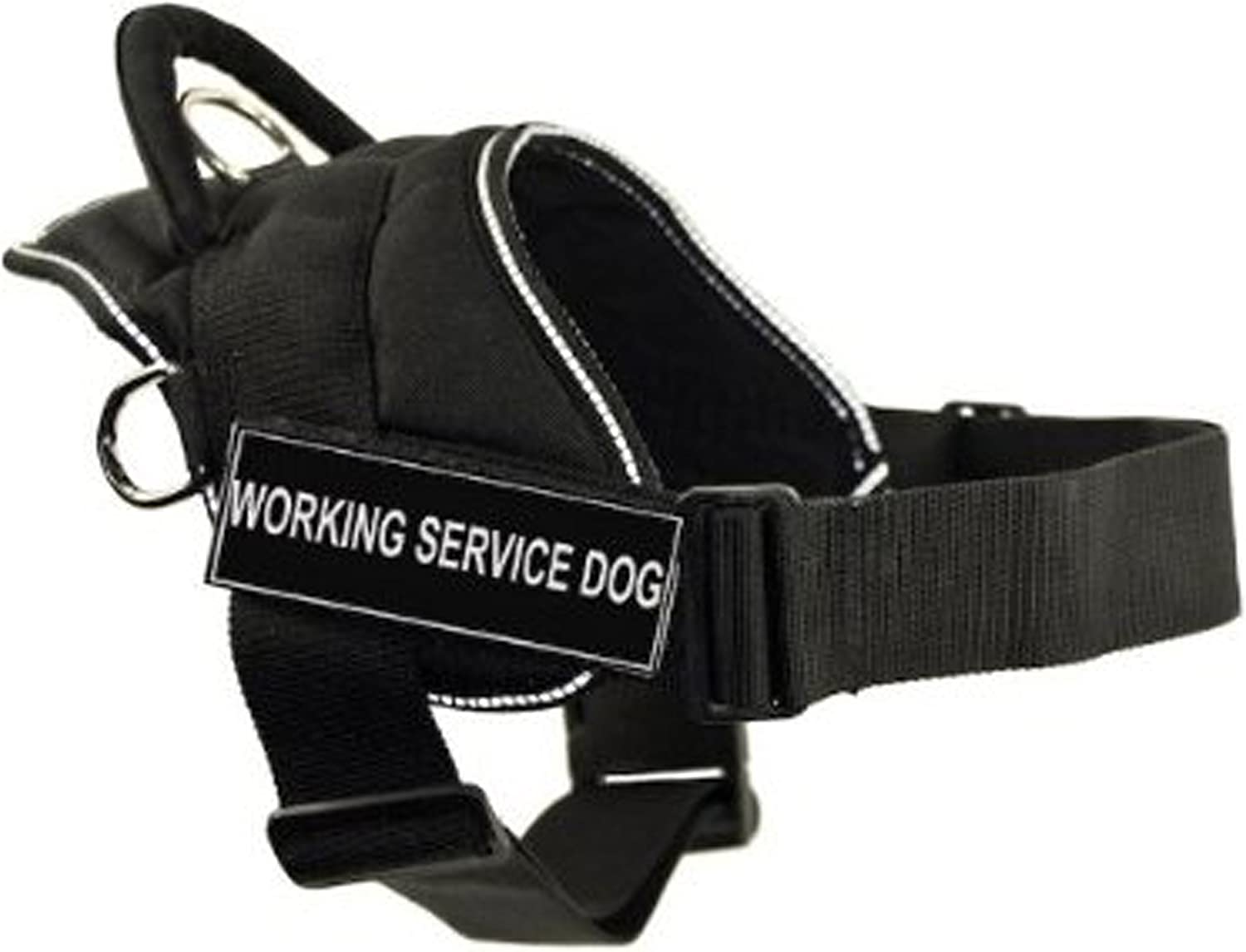 Dean & Tyler DT Fun Works Harness, Working Service Dog, Black With Reflective Trim, XSmall  Fits Girth Size  20Inch to 23Inch