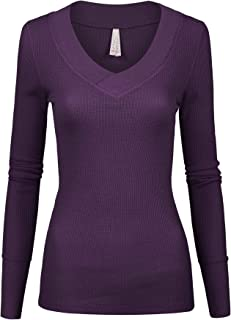 Womens Junior Solid Multi Colors Slim Fit Long Sleeve Thermal Material V_Neck Top with Band Neckline