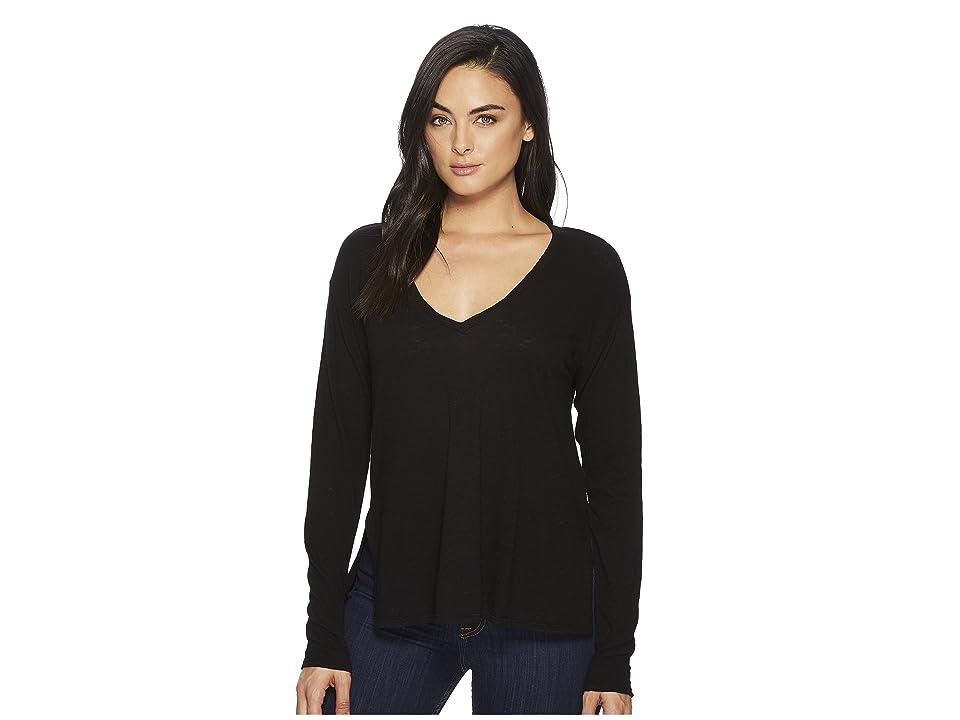 Three Dots Eco Knit Long Sleeve V-Neck w/ Side Slits (Black) Women's Long Sleeve Pullover