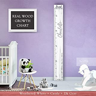 Wooden Kids Growth Chart Ruler for Boys and Girls Painted or Engraved (No Tippy Toes - Loved Beyond Measure- Personalized) Back40Life
