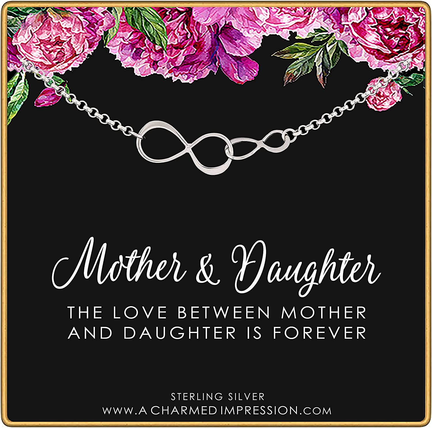 Mother Daughter Gift Inexpensive • Two Infinity Bracel Links Weekly update Charm Connected