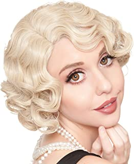 ROCKSTAR WIGS LLC Blonde Finger Wave Flapper Wig Halloween Costume Accessory for Adults, One Size