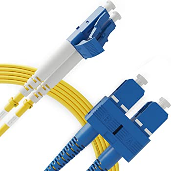 Jeirdus 50FT LC to SC Indoor Armored Duplex 62.5//125 Fiber Optic Cable Jumper Optical Patch Cord Multimode 15Meters 15M LC-SC