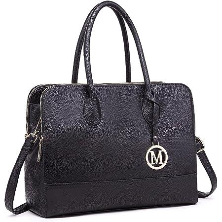 Miss LuLu Aktentasche Handtasche Laptoptasche Arbeitstasche Schultertasche Messenger Bag Retro Elegant Damen (LT1726-Schwarz)