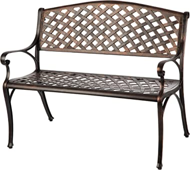 Patio Sense Cast Aluminum Patio Bench   Antique Bronze Finish   Heavy Duty Rust Free Metal Construction   Lightweight   Easy