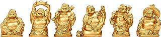 Laughing Buddha Figurines Lucky Happy Buddha Statue-Set of 6-about 2'' (samll gold)