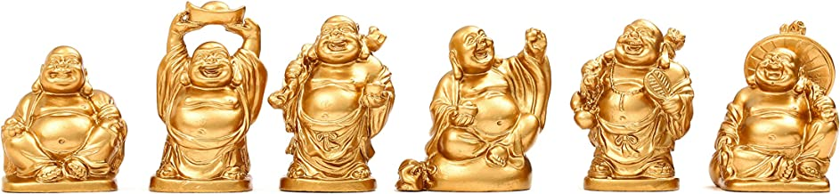Feng Shui 2'' Golden Resin Laughing Buddha Statue Figurines Set of 6 BS019