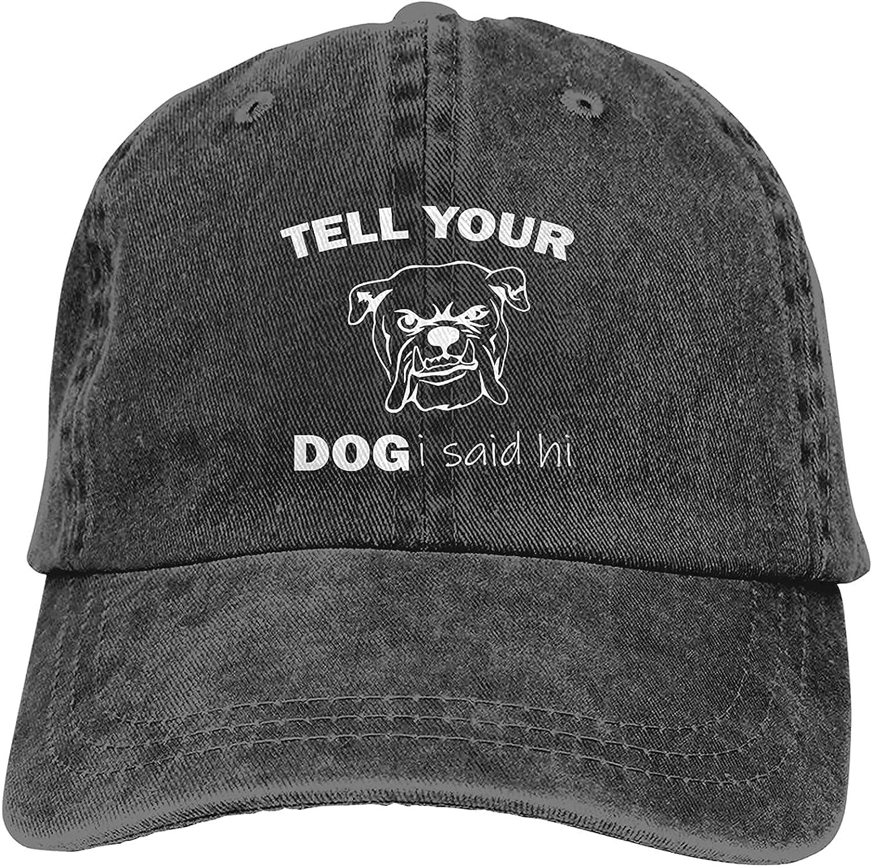 BGWORZD Tell You Dog I Said Hi Hat Adjustable Baseball Cap Cotton Washed Cowboy Hats Trucker Dad Hats Unisex Black